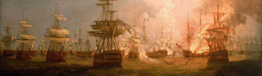 The Battle of the Nile, 1 August 1798. End of the Action, 1799, by Thomas Whitcombe. © National Maritime Museum, Greenwich, London