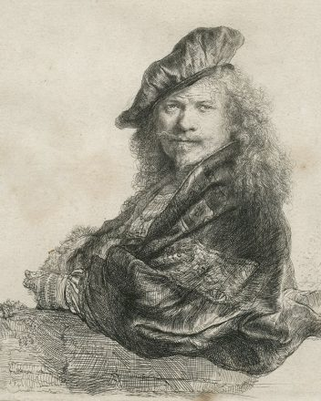 Rembrandt Harmensz. van Rijn (1606-1669) Self-portrait Leaning on a Stone-sill (II/II) 1639 etching with touches of drypoint on paper, 20.5 x 16.4 cm signed and dated in plate upper left 'Rembrandt f. / 1639' Norfolk Museums Service (Norwich Castle Museum & Art Gallery)