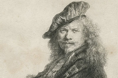 Rembrandt Harmensz. van Rijn (1606-1669) - Self-portrait Leaning on a Stone-sill (II/II) 1639 - etching with touches of drypoint on paper, 20.5 x 16.4 cm - Norfolk Museums Service (Norwich Castle Museum & Art Gallery)