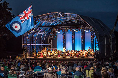 The Great British Prom at Blickling Hall - Stage with RAF flag