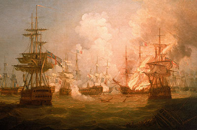 The Battle of the Nile, 1 August 1798. End of the Action, 1799, by Thomas Whitcombe. ©National Maritime Museum, Greenwich, London