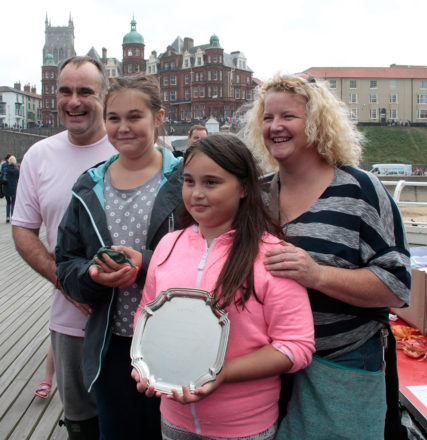 World Pier Crabbing Champions 2016: David Porter, Rachael Kirkham, 12-year-old Daisy Porter and 10-year-old Holly Porter (photo by Kate_Royall)