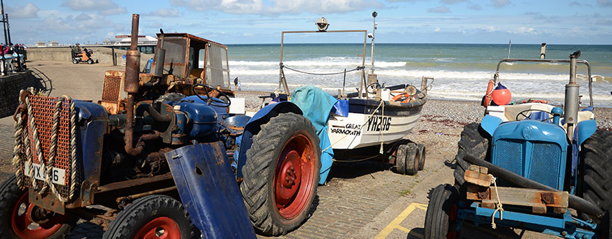 Fishing boats at the Gangway on Cromer Beach (East)