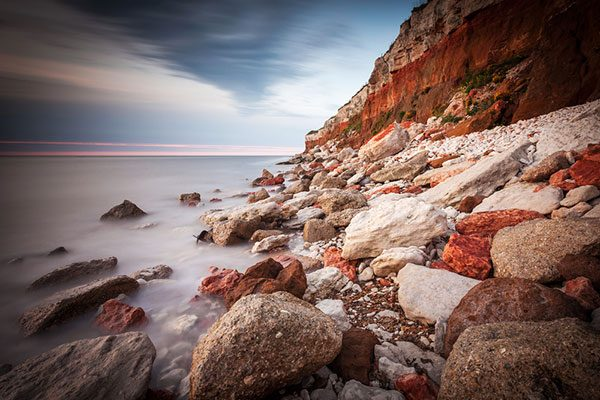 The famous red and white striped cliffs at Hunstanton