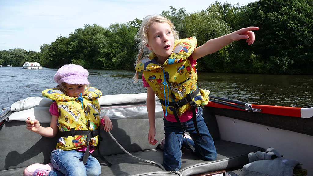 Girls enjoying the Norfolk Broads